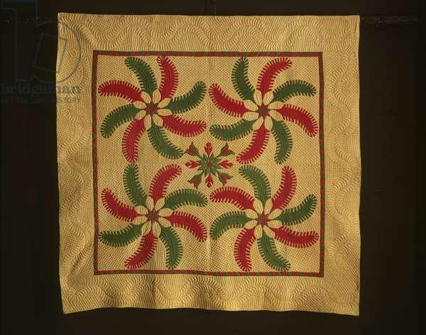Quilt with Princess Feather Pattern, 1840-70 (cotton plain weave with cotton applique)