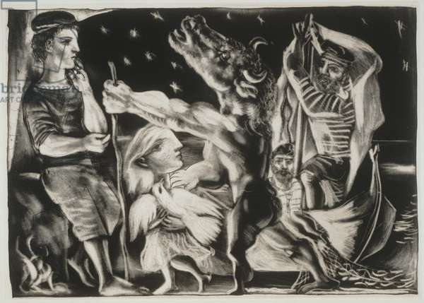 Blind Minotaur Guided by a Girl at Night, 1934 (aquatint & drypoint)