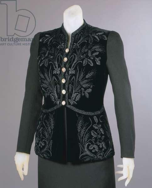 Evening Jacket, Winter 1937-38 (wool twill, silk velvet, silk embroidery & rhinestone buttons)