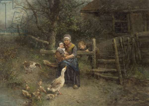 A Mother and Two Children with Geese, c.1870-75 (oil on canvas)