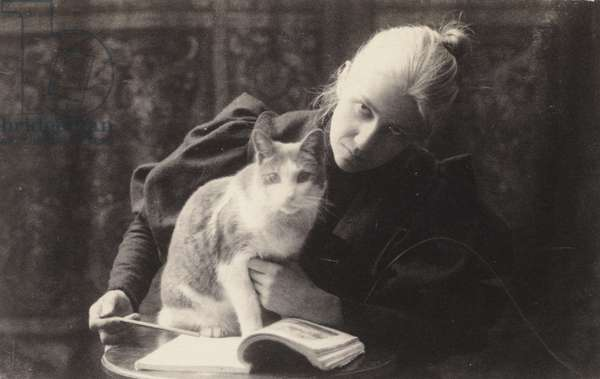 Van Buren with a Cat, late 1880s (platinum print)