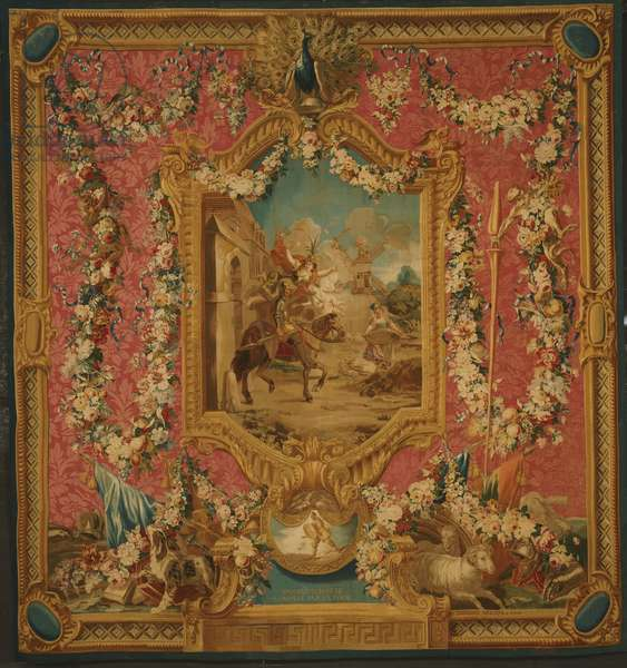 Tapestry showing Don Quixote Guided by Folly, Setting Forth to be a Knight-Errant, from the seventh series of 'The Story of Don Quixote', Gobelins tapestry manufactory, 1762-87 (wool & silk)