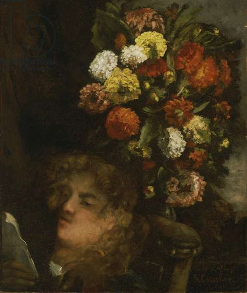 Head of a Woman and Flowers, 1871 (oil on canvas)