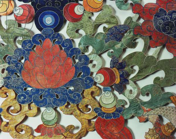 Temple Hanging (Phan), 18th-19th century (appliqué silk brocade with embroidery)  (detail of 451085)