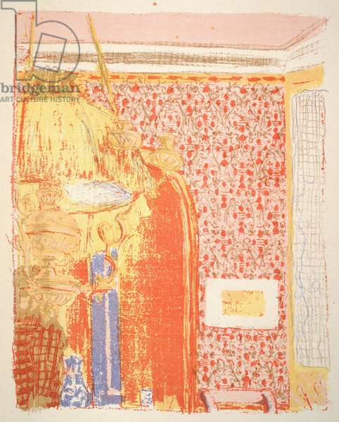 Pink Interior with a Hanging Lamp at Left, illustration from the album' Paysages et Intérieurs' (Landscapes and Interiors) c.1898-99 (colour litho)