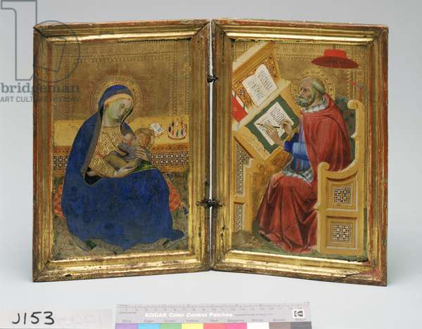 Virgin of the Humility and Saint Jerome Translating the Gospel of John, c.1400-05 (tempera, silver & tooled gold on panel)