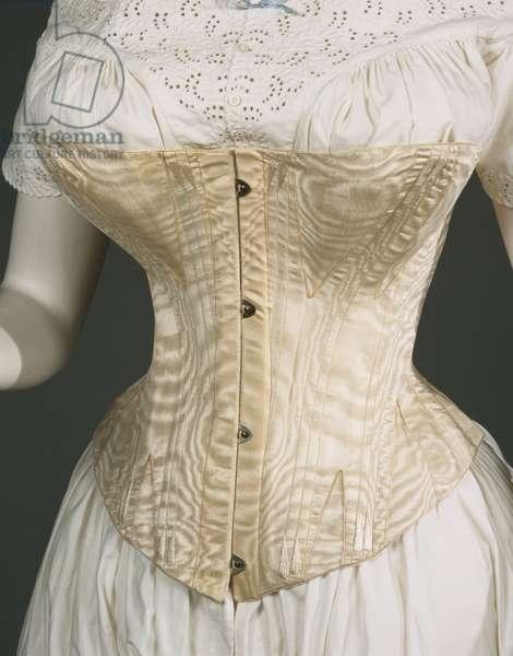 Women's Corset, c.1860-70 (silk moiré, baleen (whalebone) & metal busk)