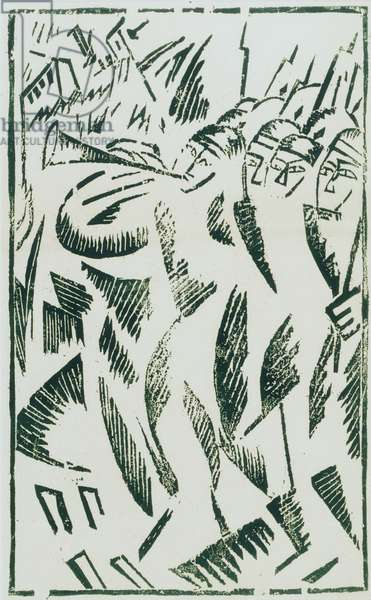 To the Death, from the portfolio Voina (War), 1915-16 (linocut)