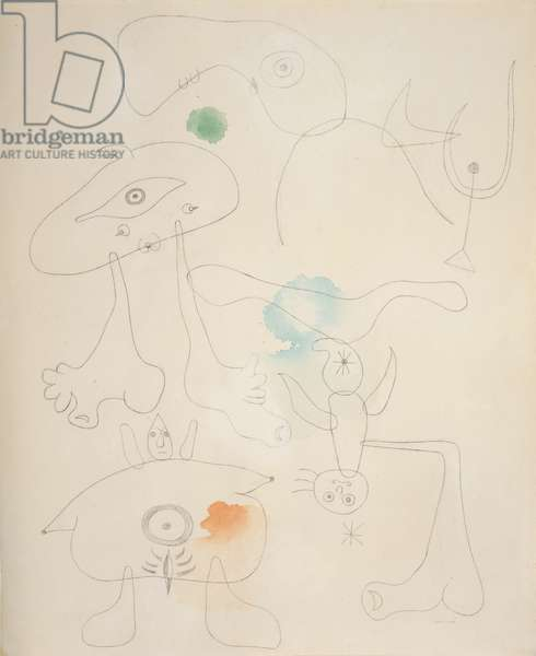 People, Bird, Star, 1942 (watercolour and graphite on paper)