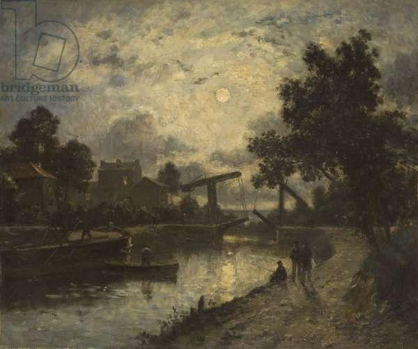 Noctural Landscape with a Drawbridge (oil on canvas)
