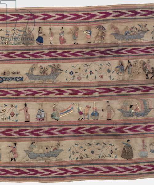 Shawl (Rebozo) (silk plain weave with resist dyeing & silk & gilt thread embroidery in darning, satin, & outline stitches; knotted fringe) (detail of 434326)