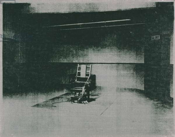 Electric Chair (Gray), 1964 (screenprinted synthetic polymer on canvas)