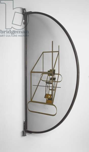 Glider Containing a Water Mill in Neighboring Metals, 1913-15 (oil & lead wire on glass)