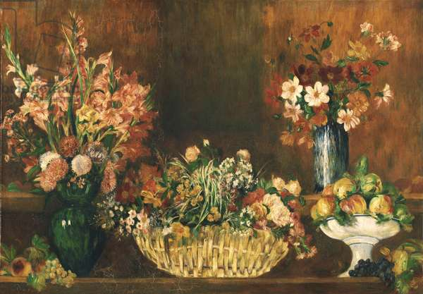 Still Life with Flowers and Fruit, c.1890 (oil on canvas)