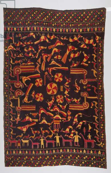Woman's Headcovering (Sainchi Phulkari) (cotton plain weave with silk embroidery in open herringbone)