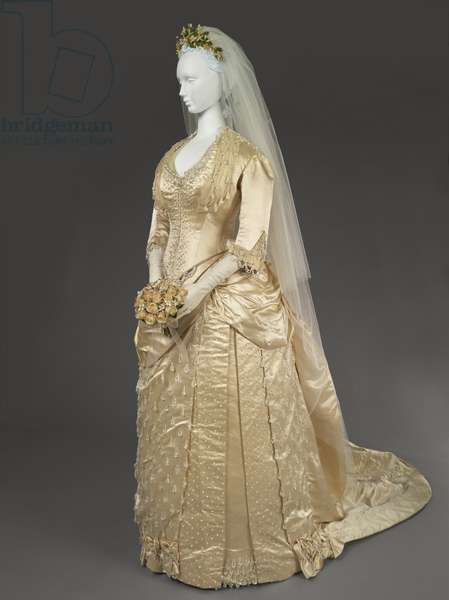 Wedding Dress, c.1888 (satin trimmed with seed pearls and chiffon)