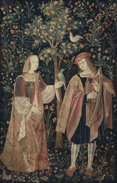 Fragment of a tapestry showing a courtly couple, c.1500-30 (wool)