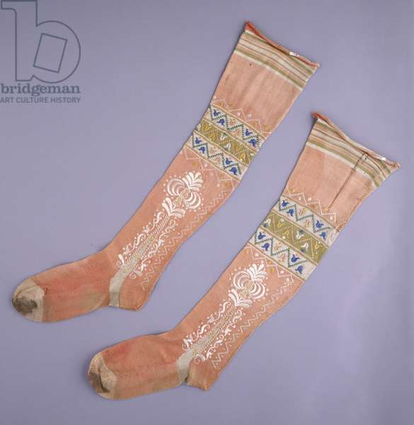 Woman's Stockings, c.1750 (machine-knit coral-pink silk with multicolored stripes with multicolored silk embroidery)