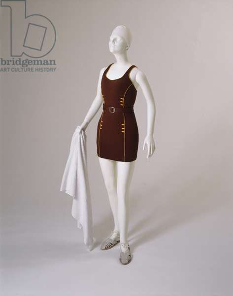 Bathing Suit and Belt, 1935 (wool, machine knit, with matching belt)
