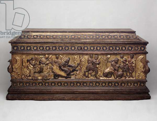Marriage Chest with Ceres Searching for Her Daughter, Proserpina, 1475-1500 (wood with painted, gilded plaster decoration)