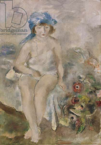 Girl in a Blue Headscarf, c.1928 (oil & crayon on canvas)
