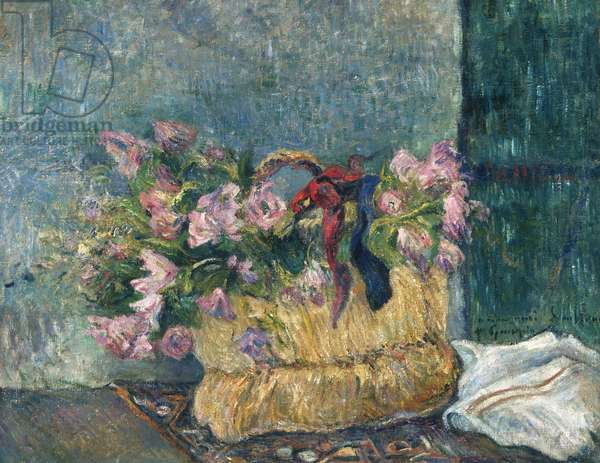 Still Life with Moss Roses in a Basket, 1886 (oil on canvas)