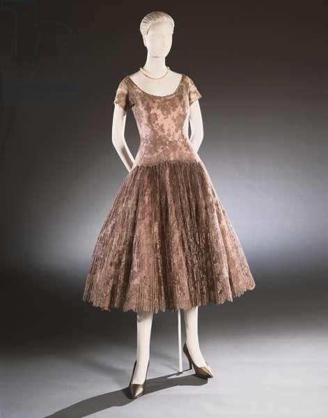 Woman's Cocktail Dress, c.1954 (cotton lace, nylon tulle & silk taffeta)