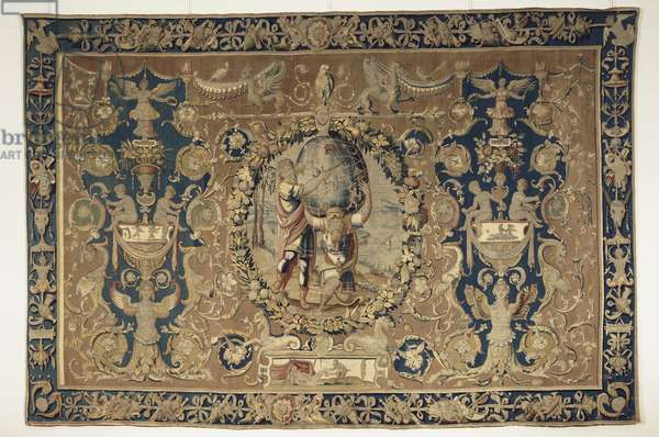 Tapestry with a scene of Hercules Shouldering the Heavens for the Giant Atlas, Grotesques with the Deeds of Hercules, probably made in Oudenaarde, c.1540-50 (wool & silk)