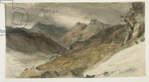 View of Bowfell (Cumbria) and the Langdale Pikes from near Harry Place, 1806 (w/c & graphite on buff wove paper)