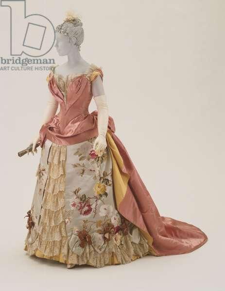 Evening Dress, c.1886-87 (silk satin, faille & brocade with lace & rhinestones)