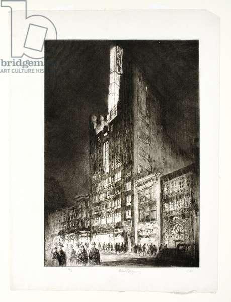 WCAU Building at Night, Philadelphia, 1933 (etching)