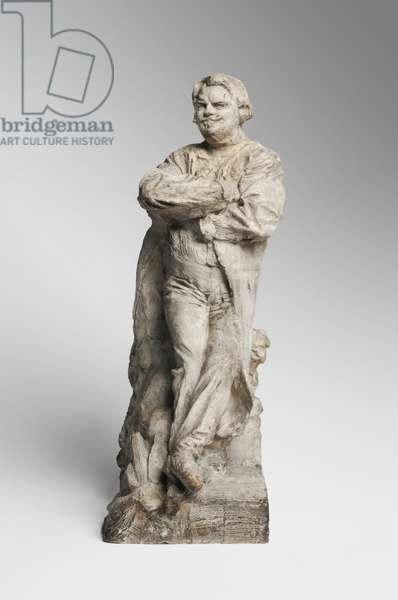Balzac in a Frock Coat, Leaning against a Pile of Books, modeled 1891, cast before 1917 (plaster)