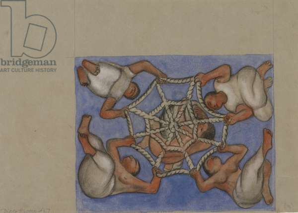 Study for Ceiling Vault Fresco at Chapingo, 1927 (pastel & w/c on gray laid paper)