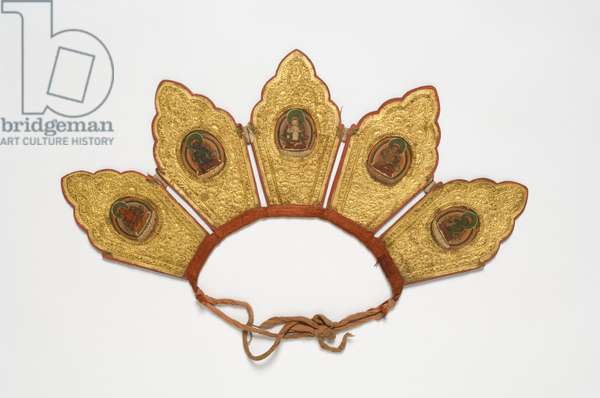 Diadem, made in Donkar monastery, Ling ma tang, Tibet, late 19th or early 20th century (opaque w/c & gold on cardboard with cloth)