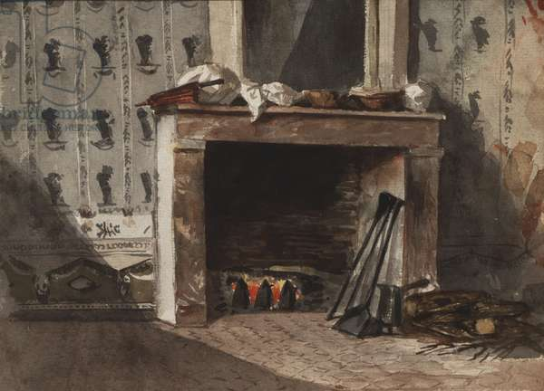 The Fireplace, c.1824 (w/c over graphite with traces of crayon on off-white laid paper)