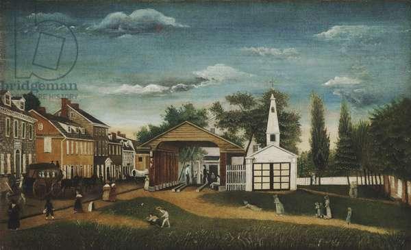 Market Square, Germantown, Pennsylvania, c.1820 (oil on canvas)