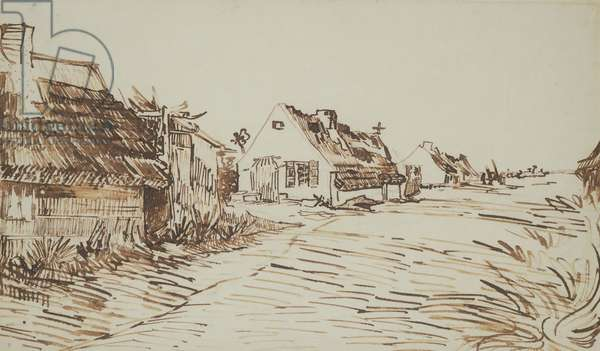 The Road at Saintes-Maries, 1888 (brown ink & reed pen with traces of graphite on off-white paper)