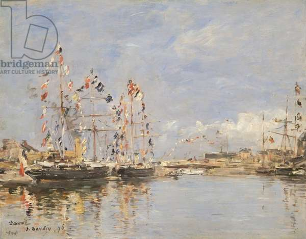 Deauville, Flag-Decked Ships in the Inner Harbour, 1896 (oil on panel)