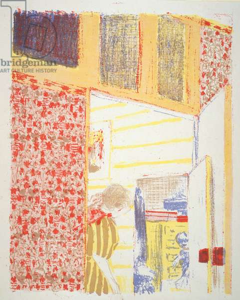 Pink Interior with an Open Door, illustration from the album 'Paysages et Intérieurs' (Landscapes and Interiors) c.1898-99 (colour litho)