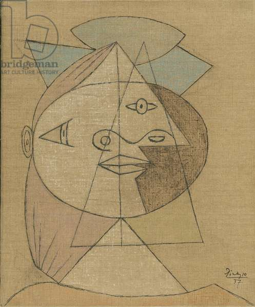 Head of a Woman, 1937 (crayon, ink & graphite on canvas)