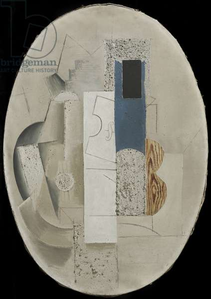 Still Life with a Violin and a Guitar, 1912-13 (oil paint, gesso & faux wood on canvas)