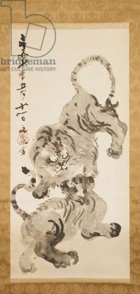 Tiger and Cub, 1827 (ink on paper, mounted as a hanging scroll)