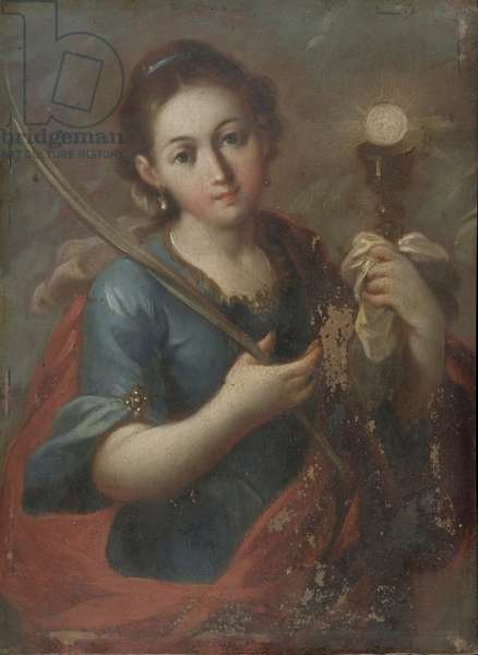 St. Barbara, c.1740 (oil on copper)