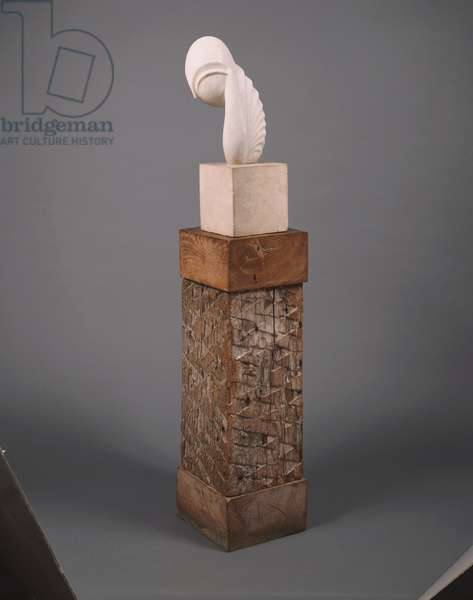 Mademoiselle Pogany III, 1931 (white marble, limestone & oak base)