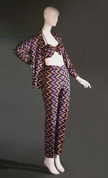 Ensemble: Slacks, Blouse, Bra, and Shorts, 1955-56 (printed cotton)