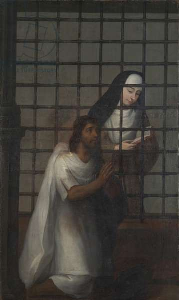 Capuchin nun reading to an Indian visitor through the gates of a convent, c.1775-1800 (oil on canvas)