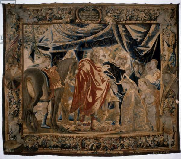 Tapestry showing the Family of Darius at the Feet of Alexander, mid 17th century (wool & silk)
