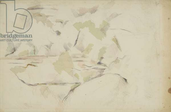 Trees and Rocks No.1, c.1895 (w/c & graphite on off-white laid paper)