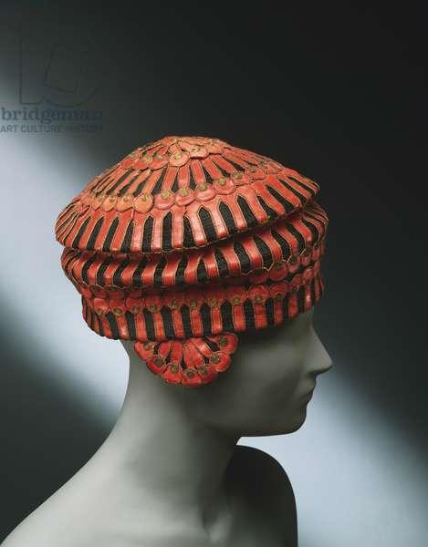 Woman's Hat, 1923 (silk satin, tulle, leather, metallic thread & brass)