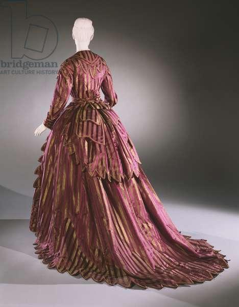 Woman's Day Dress: Bodice, Skirt, and Bustle Drape, c.1870 (satin, silk & taffeta)